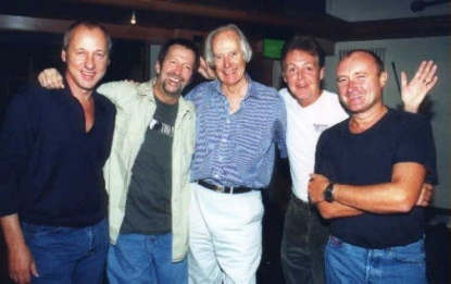Sir George Martin with Mark Knopfler, Eric Clapton, Paul McCartney and Phill Collins